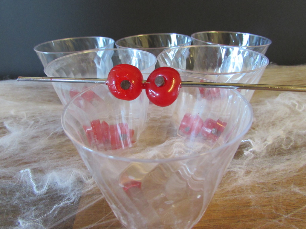 Eyeball cherries for Halloween drink