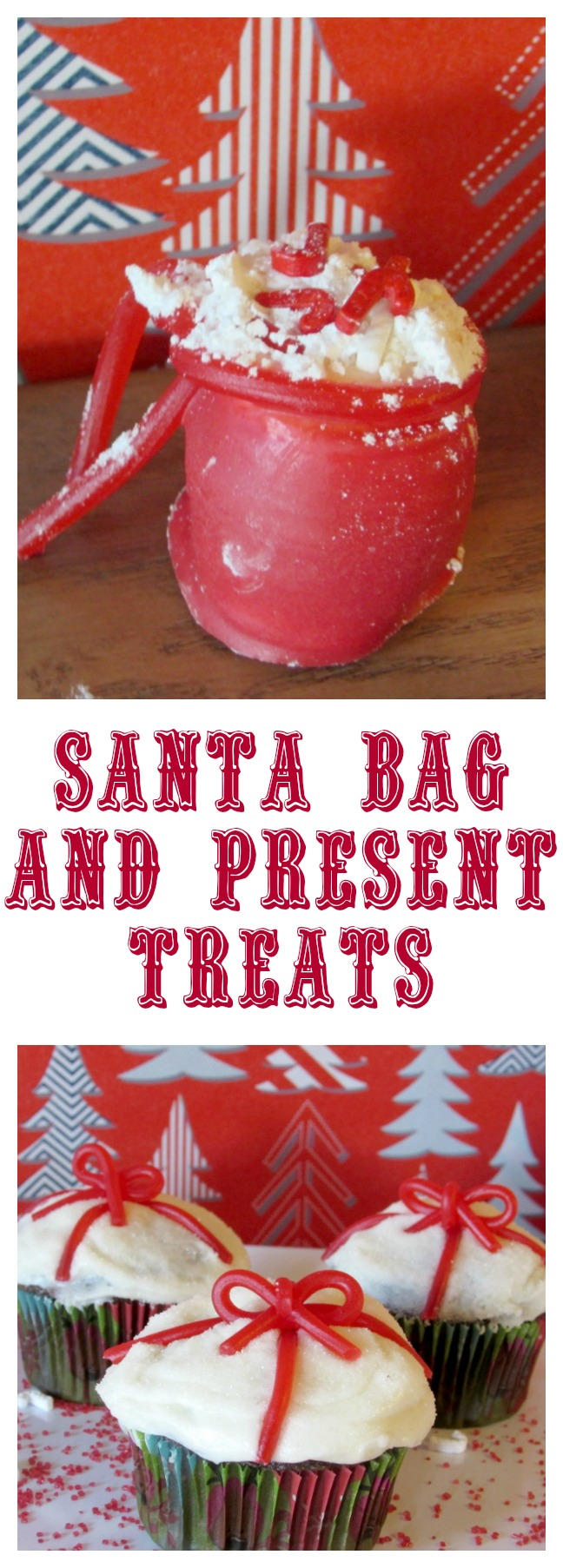 Santa Bag and Present Treats. How to make marshmallow Santa bags with snow and candy canes inside. Also present cupcakes for Santa