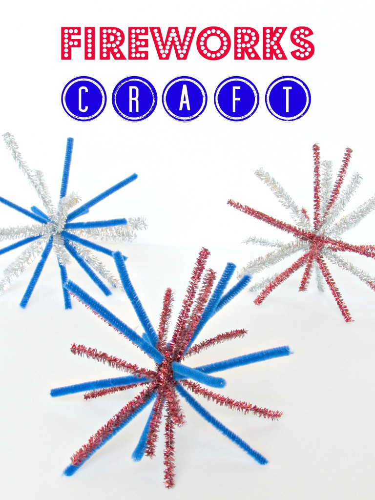 firework craft, pipe cleaner fireworks, 4th of July craft, fireworks for kids, diy firework craft