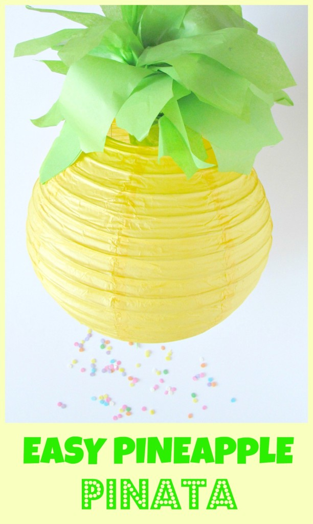 easy pineapple pinata, pineapple pinata, pineapple party, pull string pinata, pinata, diy pinata