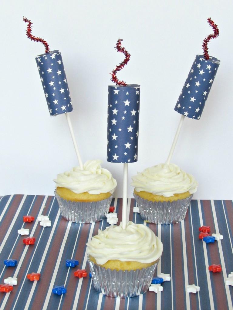 Firecracker Cupcake Toppers