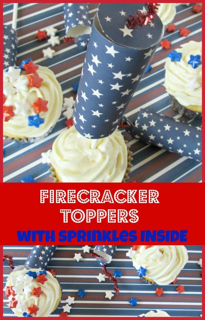 firecracker cupcake toppers, 4th of July cupcake toppers, cupcake topper with candy inside, star candy, firework cupcake topper