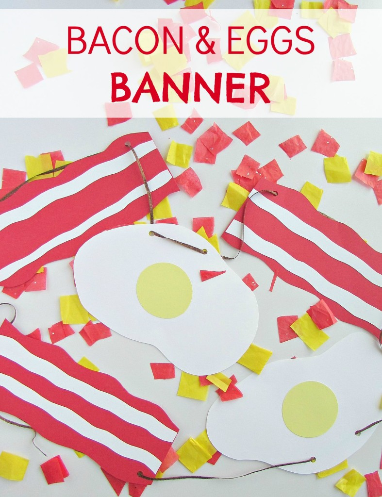 Bacon & Eggs Banner - brunch banner made with cardstock paper - Val Event Gal
