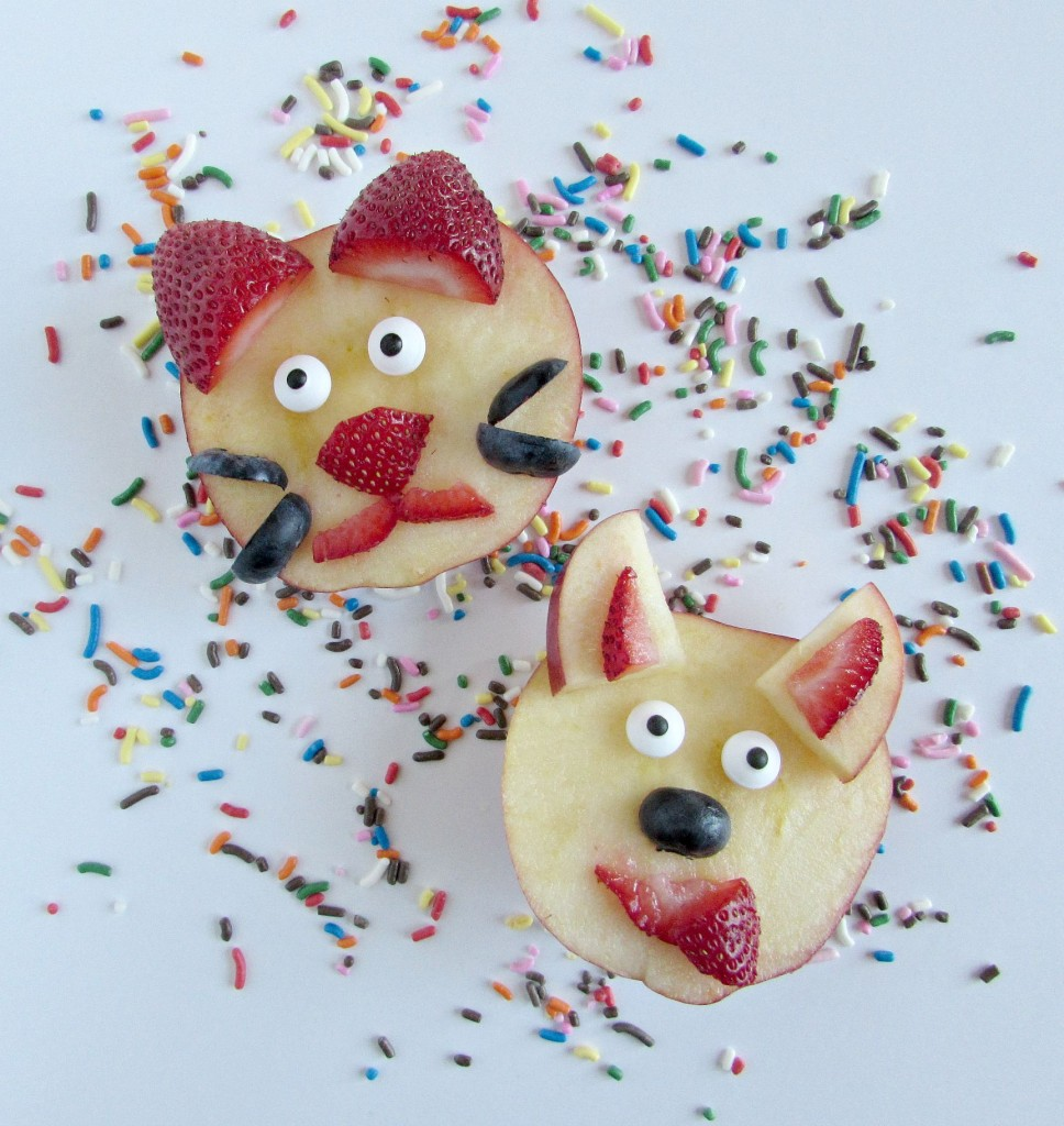 Cat and dog fun fruit for school lunches