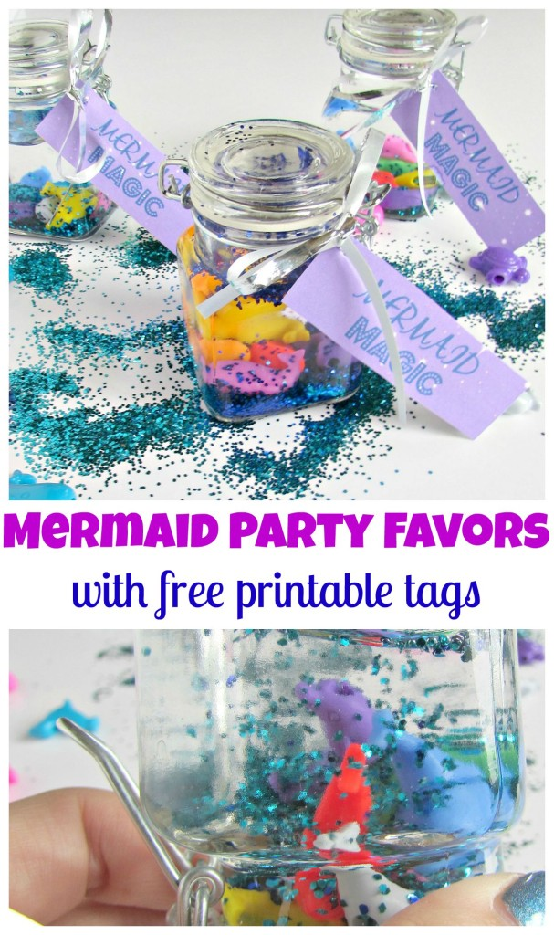 Mermaid Party Favors with free printable gift tags perfect for a mermaid party! - Val Event Gal