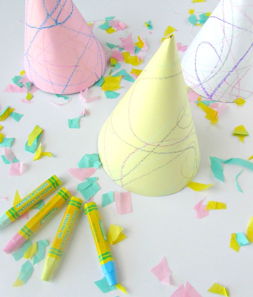DIY Doodle Party Hats perfect for an art party and can double as a party activity! - Val Event Gal