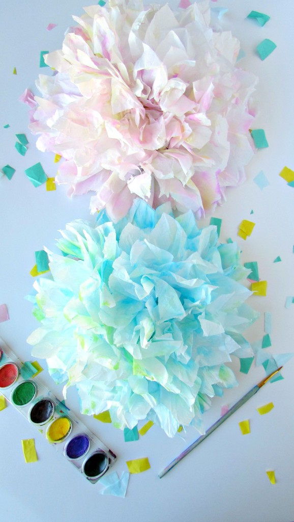Tissue paper flowers with watercolors - Copy