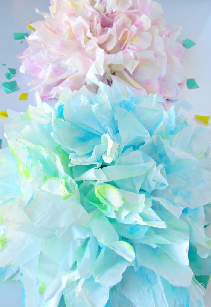 Beautiful watercolor tissue paper flowers