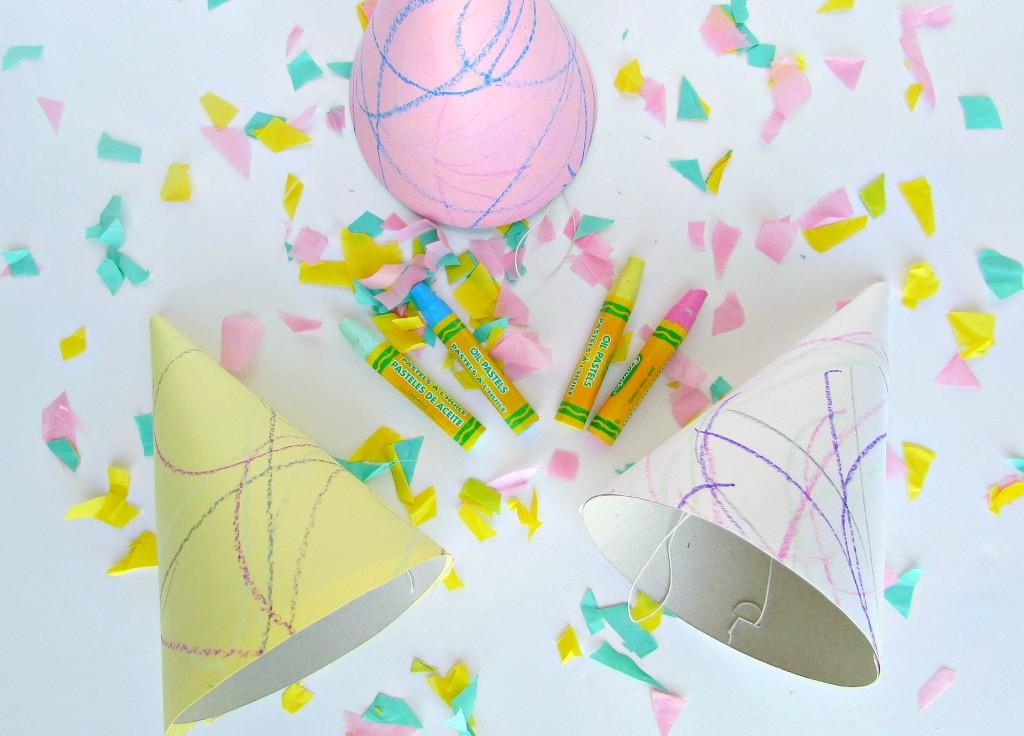 Pastel doodle art party hats