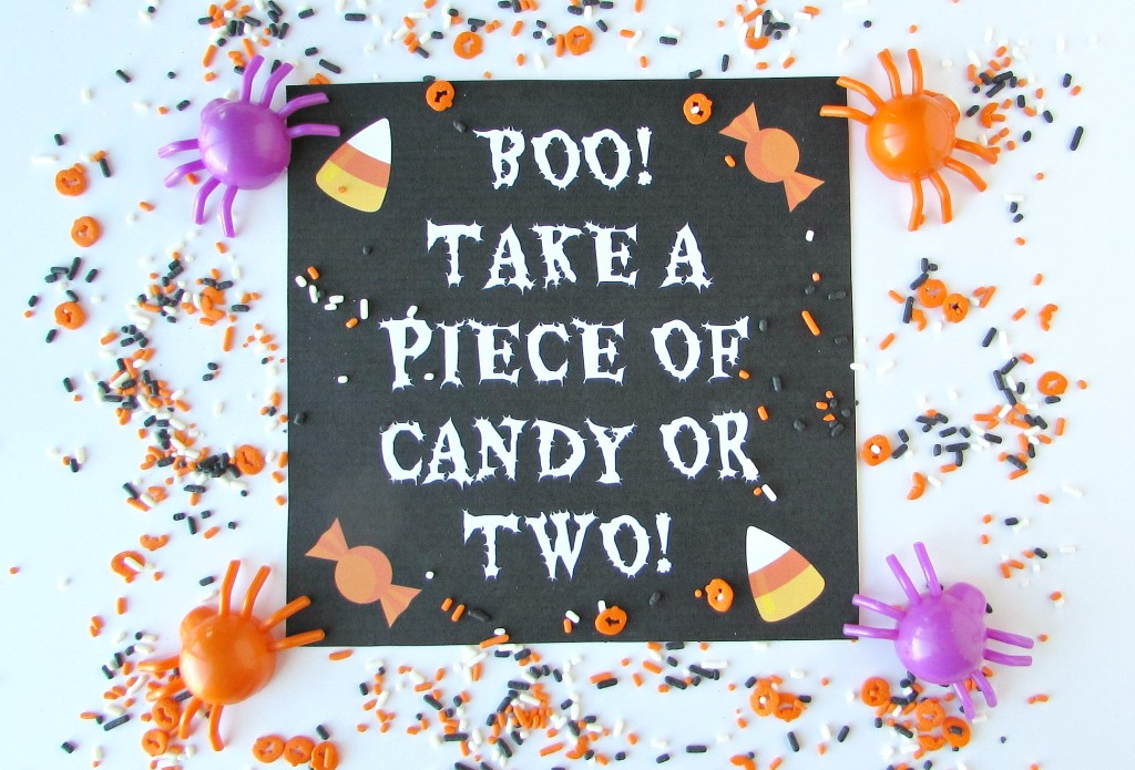 Boo! Take a piece of candy or two! Printable to leave out with candy while you are out trick or treating