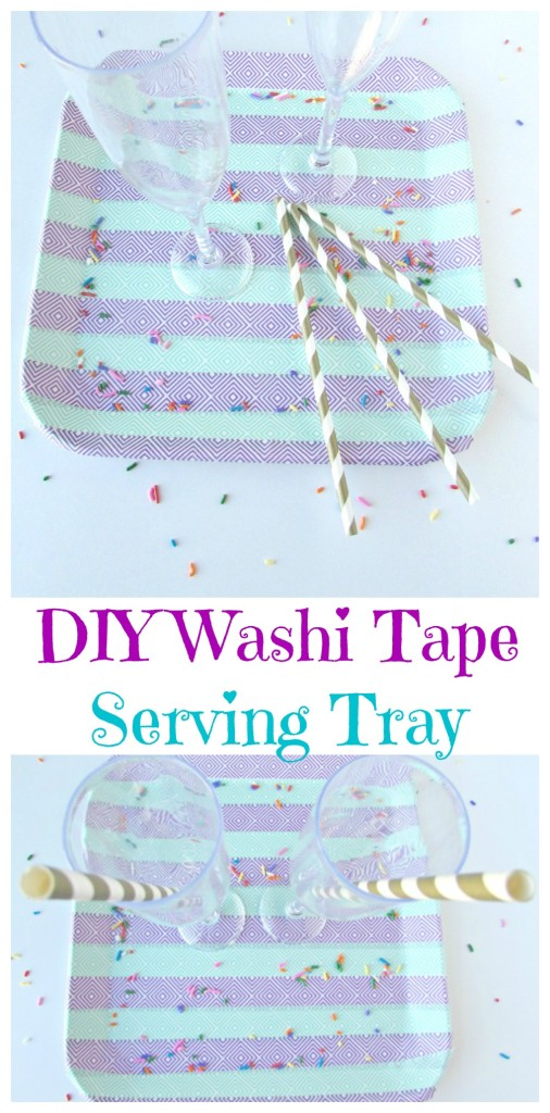 DIY Washi Tape Serving Tray. Serve up drinks on a festive serving tray made decorative with washi tape