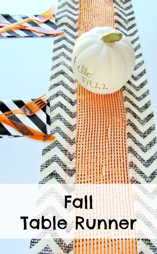 Fall table runner and hello fall pumpkin