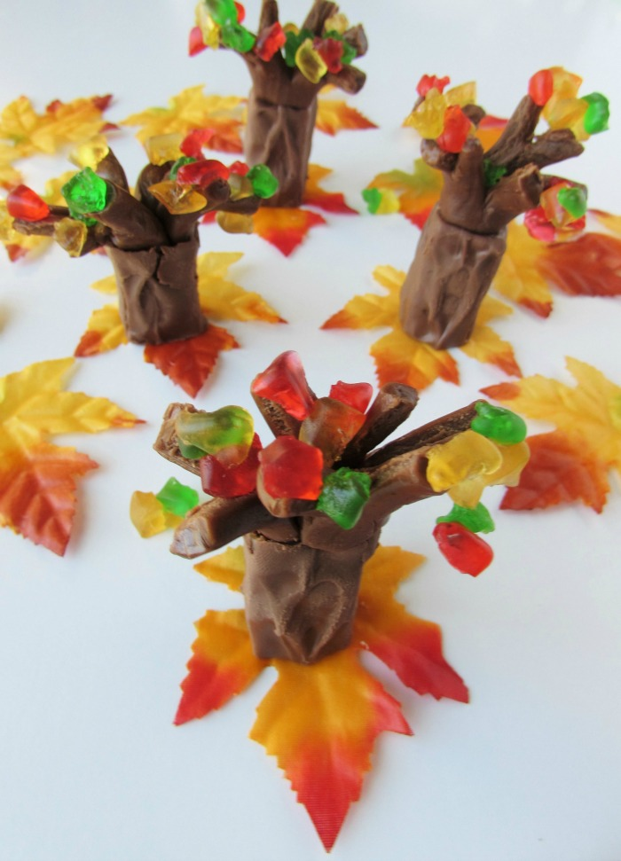 The leaves are falling on these colorful candy fall trees for a fall party or fun treat!