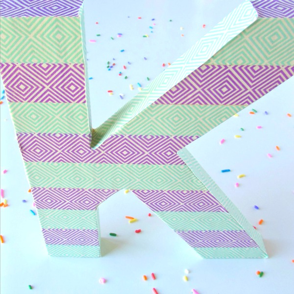 Letter with washi tape for kids bedroom or party decor