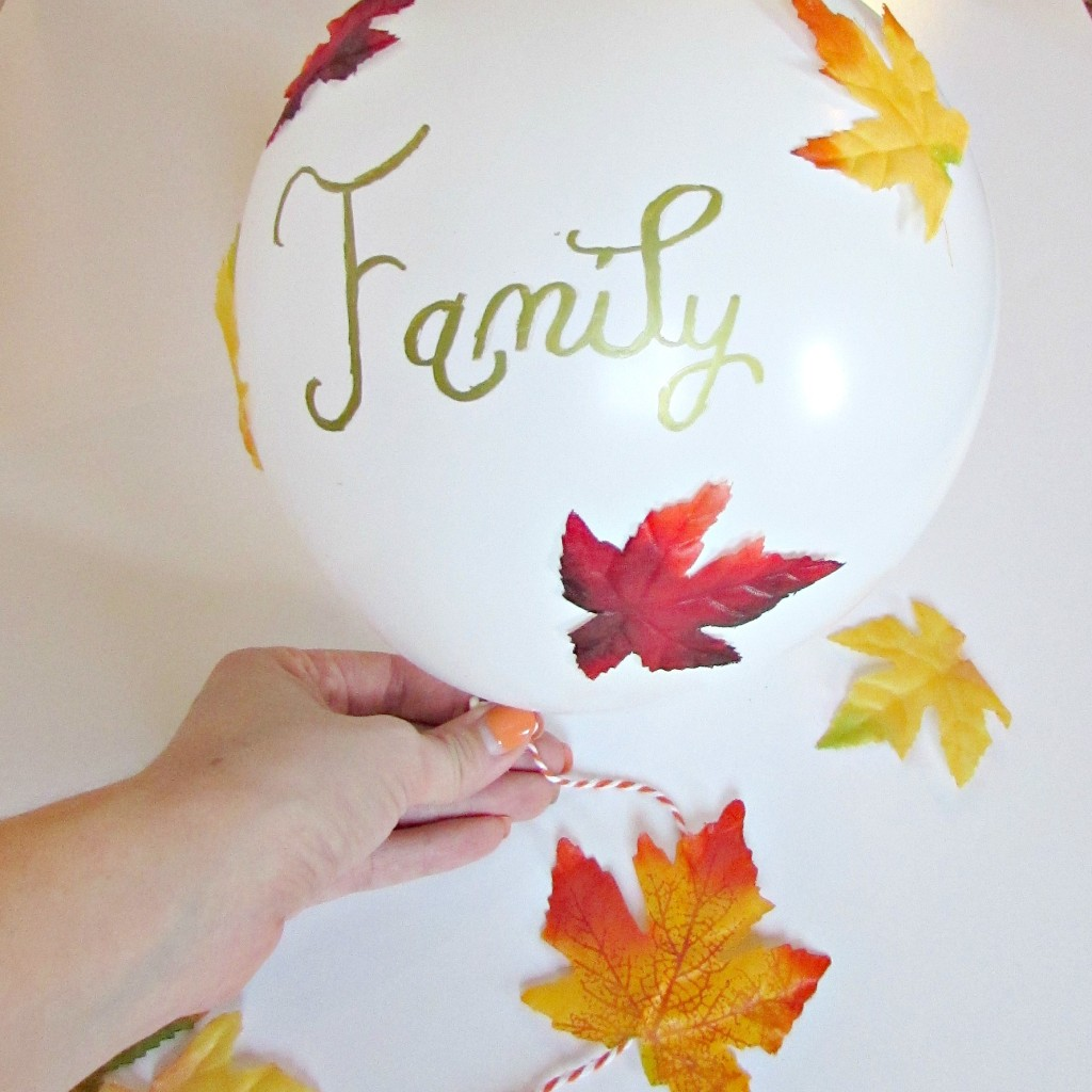 Fall leaf balloon with what you are thankful for written on it