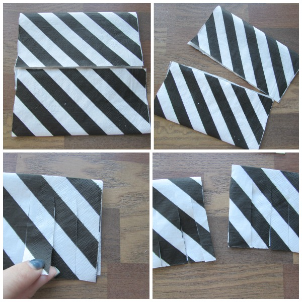 Fold napkin and cut
