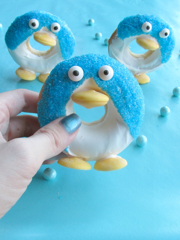 Little donuts that look like penguins and can stand up!
