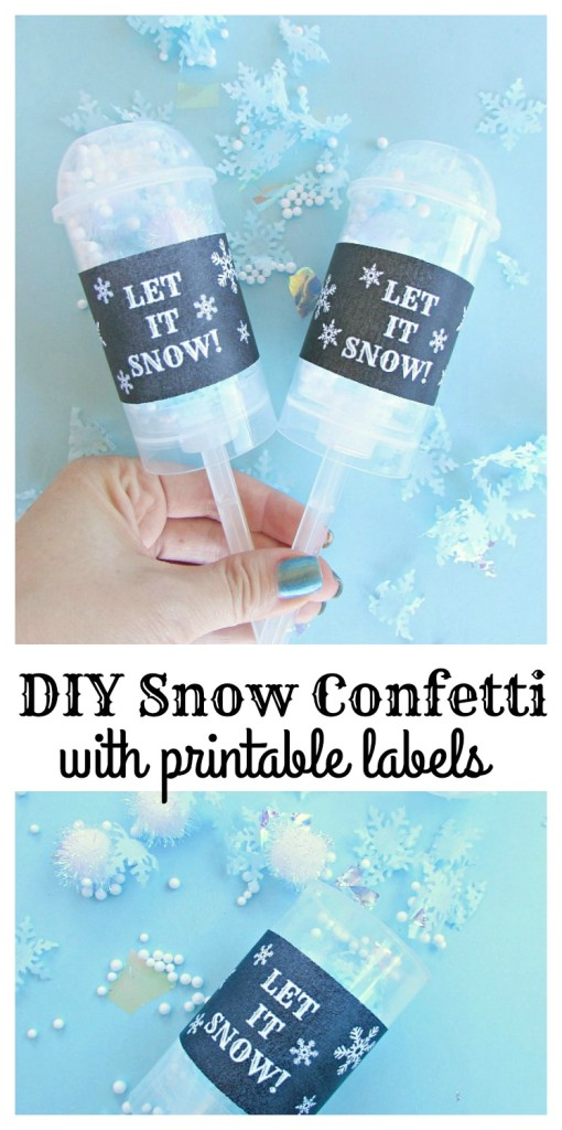 DIY Snow Confetti with Printable Labels. How to make easy snow confetti and free printable labels!