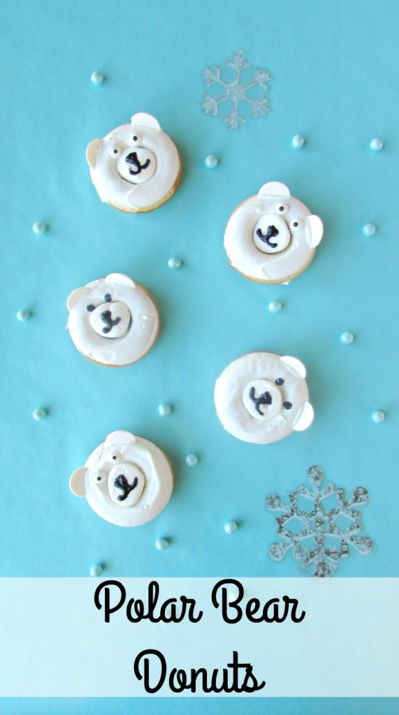 Polar Bear Donuts. A fun treat for winter parties or a Christmas morning breakfast