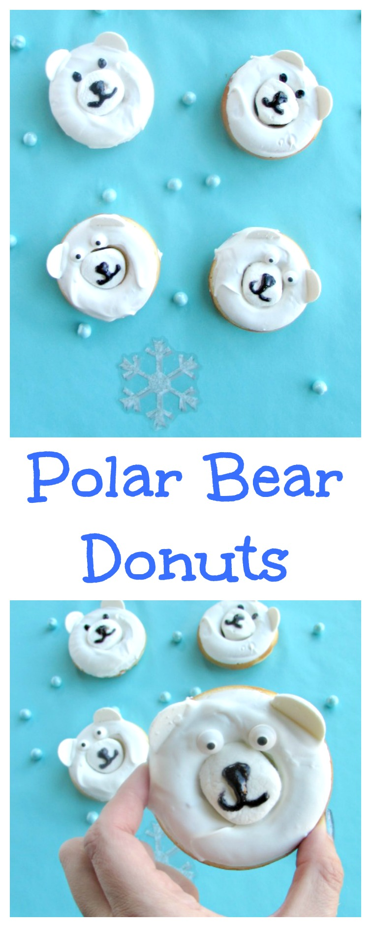 Polar bear donuts are adorable for winter, Christmas or any fun ocassion