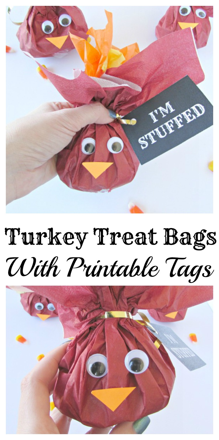 turkey treat bags with printable tags put any candy or fun goodies inside these cute