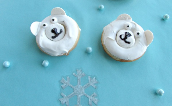 cute cuddly polar bear donuts with white chocolate coating