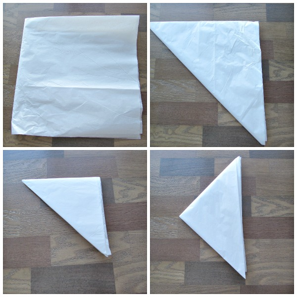 fold tissue paper into small triangle