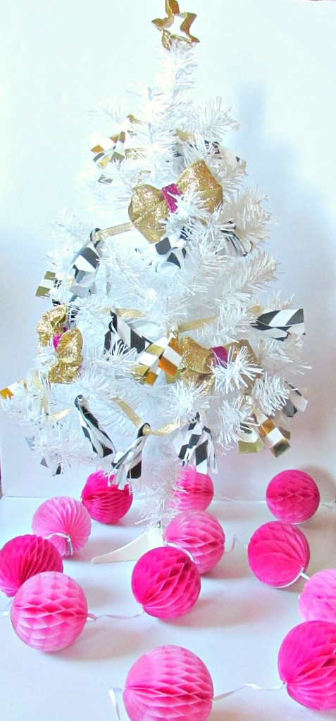 modern mini tree and pink honeycombs