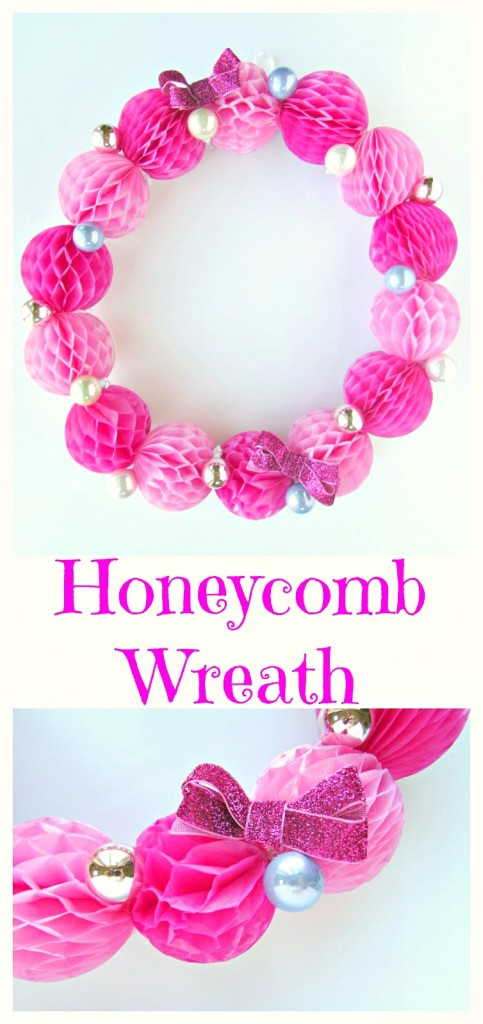 Honeycomb Wreath with mini ornaments. This wreath is incredible easy to make and has a beautiful modern look. -Val Event Gal