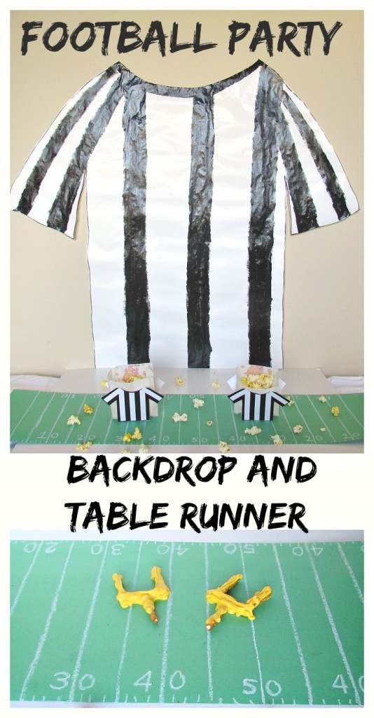 Football Party Backdrop and Table Runner. Super easy and cheap ways to decorate your football party table