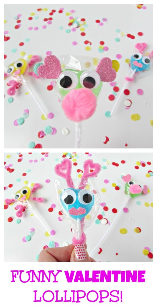 Funny Valentine Lollipops! Make cute funny faces on lollipops to hand out on Valentine's day. They are really fun to make with kids.