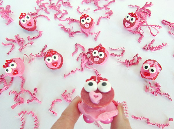 Candy love bugs with little candy feet