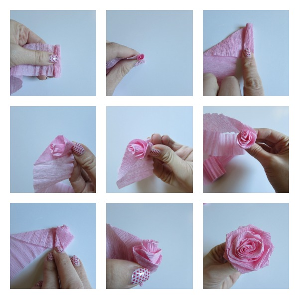 Crepe paper flower and ruffle letters val event gal making crepe paper roses mightylinksfo