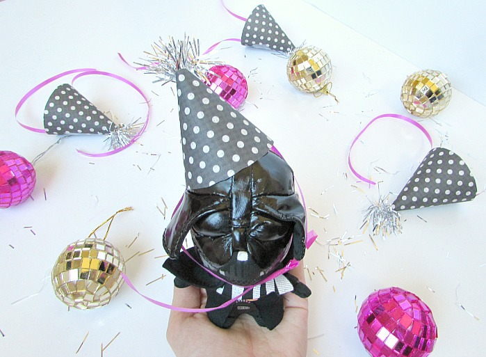 darth vader with diy mini party hat