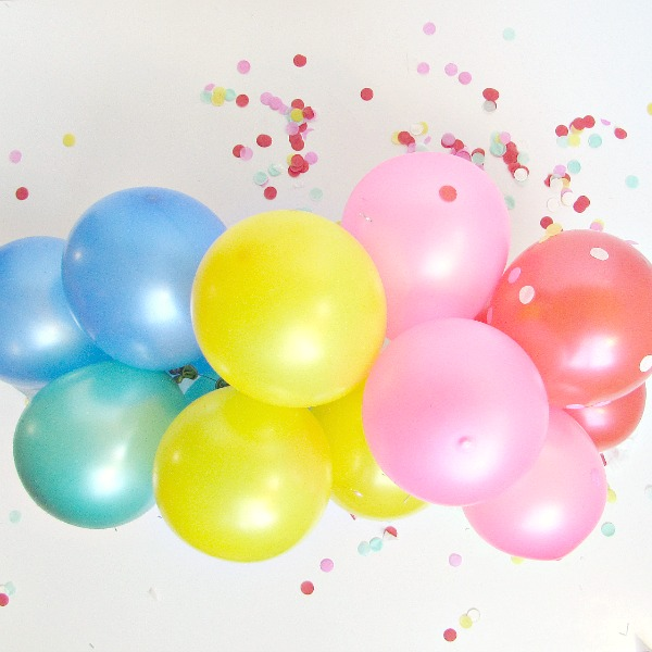 rainbow of balloons
