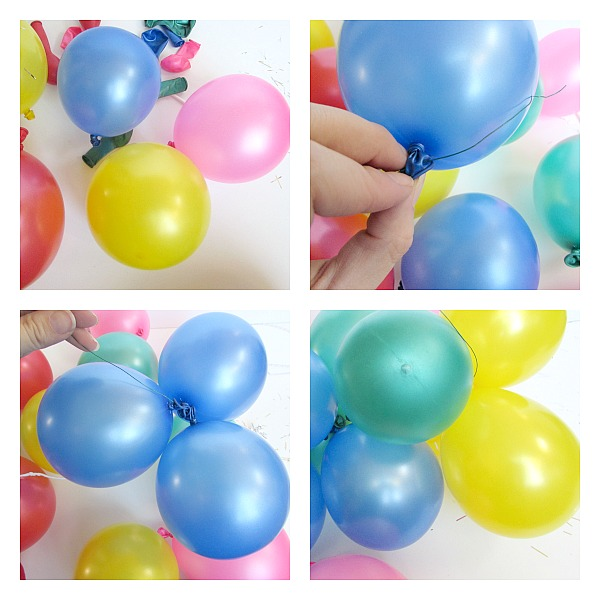 blow up balloons and connect them together