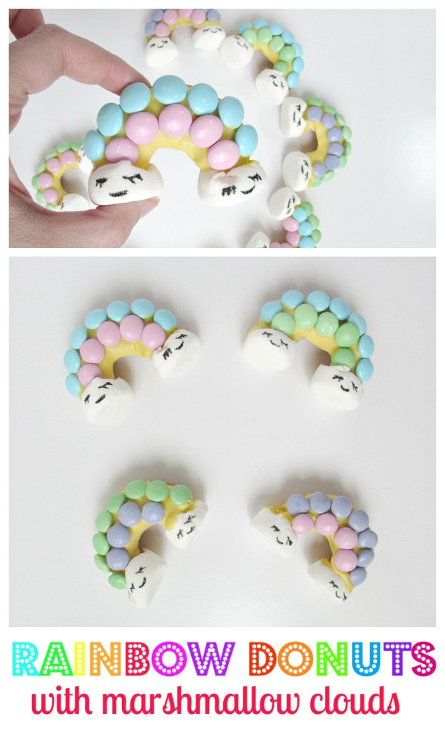 Rainbow Donuts with marshmallow clouds! These are the cutest rainbow donuts