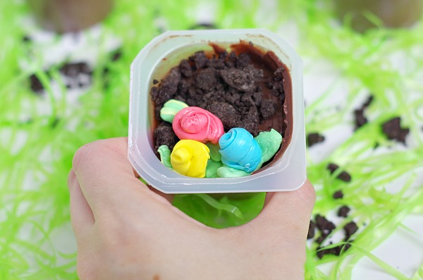 colorful flower pudding cups