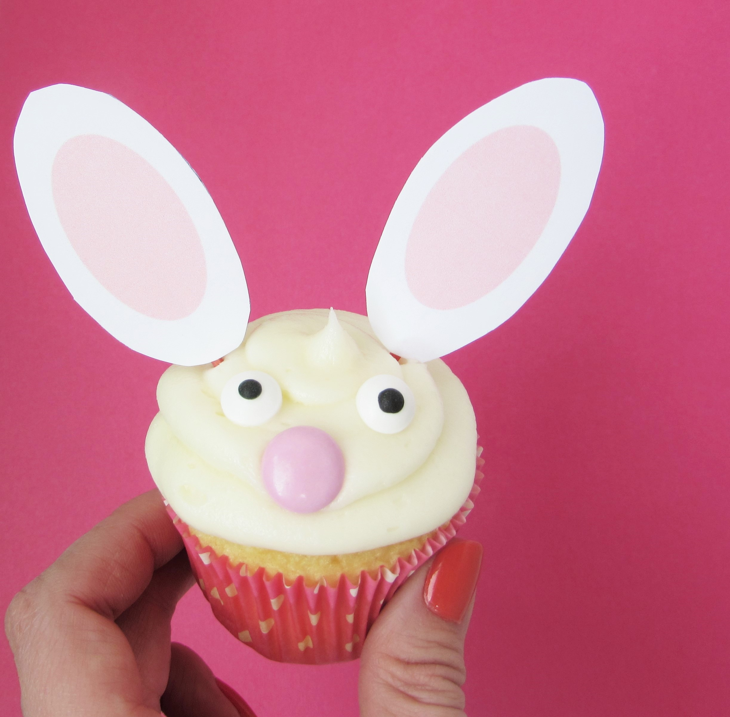 bunny cupcake with free printable ears