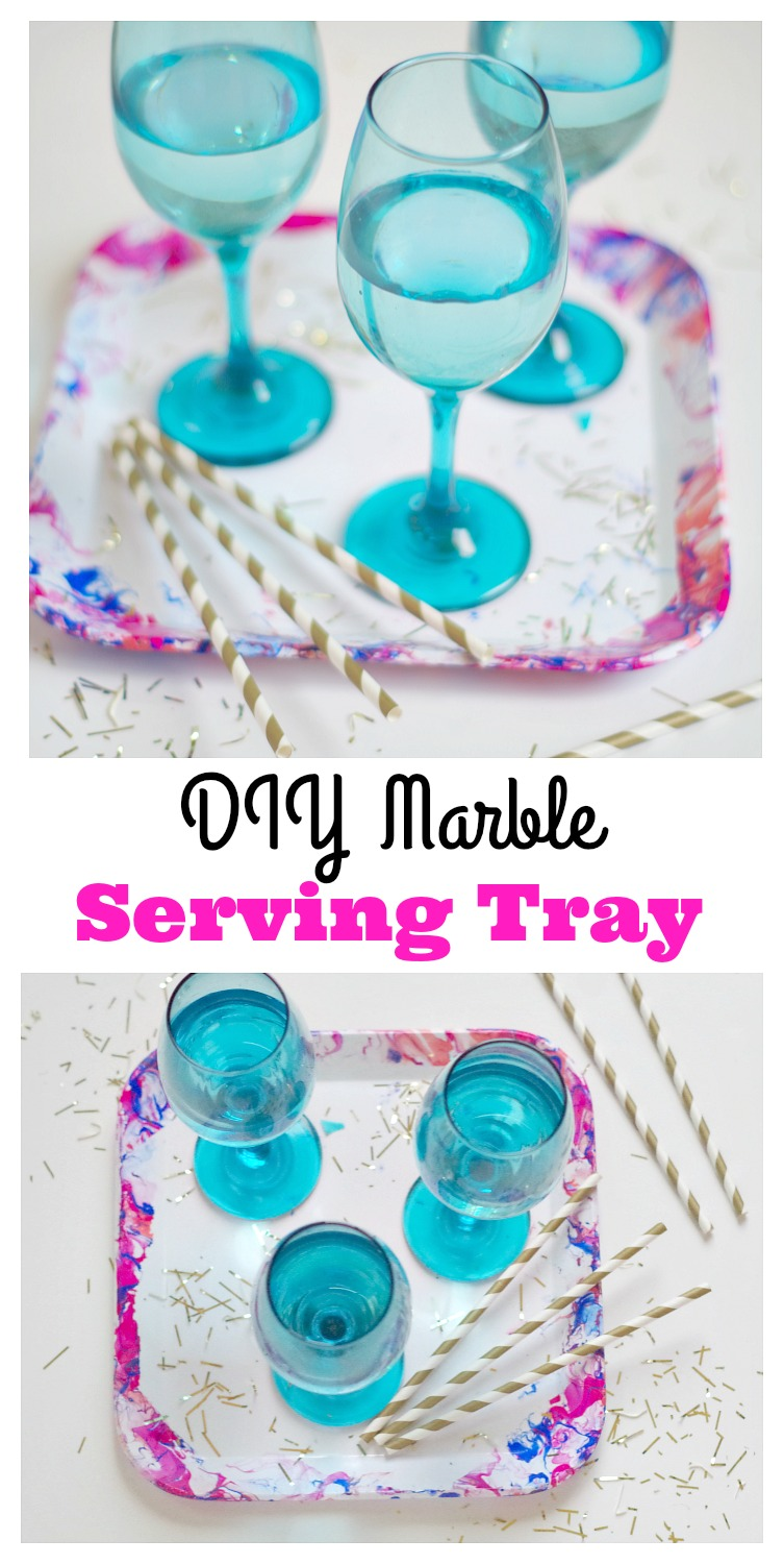 DIY Marble Serving Tray! Make this pretty serving tray with marble edges to match any party colors