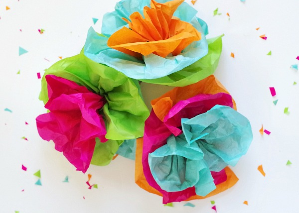 colorful tissue paper flowers