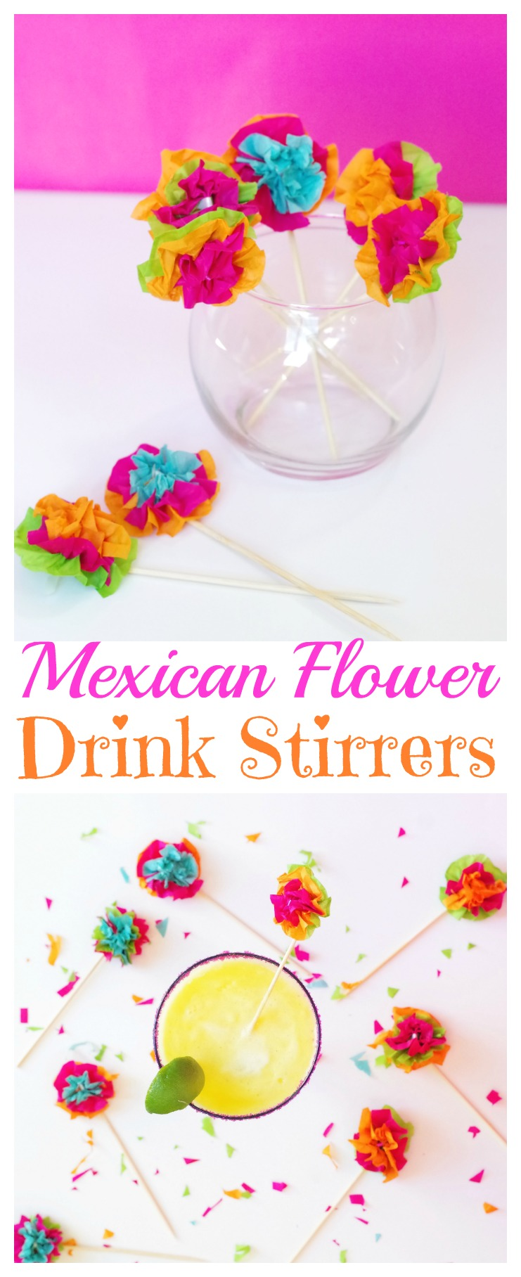 Mexican Flower Drink Stirrers for Cinco De Mayo and parties