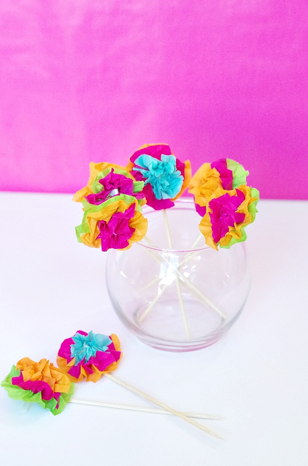 mexican flower drink stirrers for a fiesta