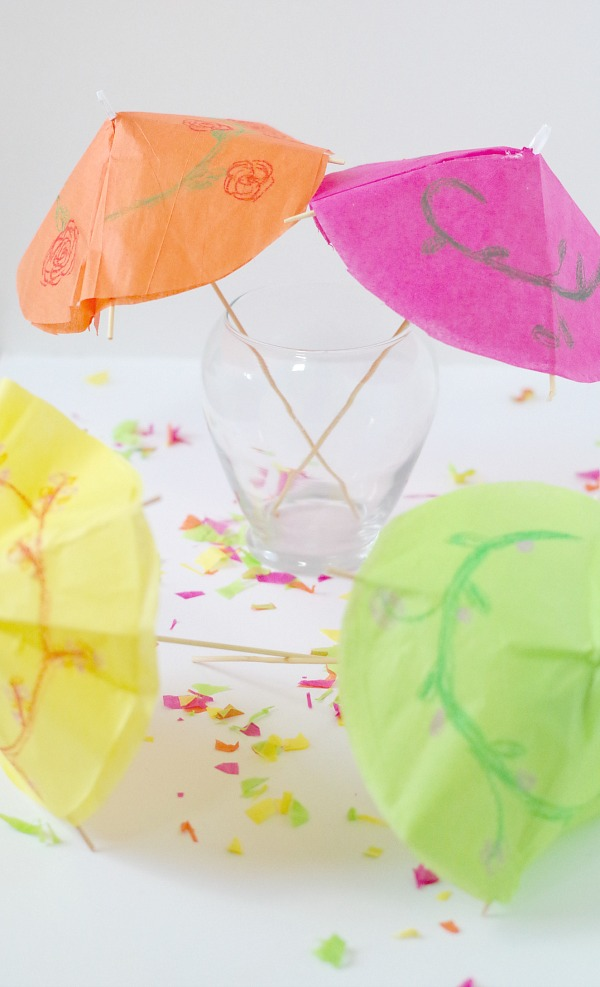 colorful big drink umbrellas