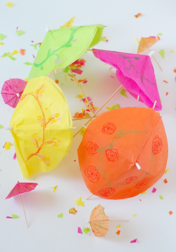 diy colorful large drink umbrellas