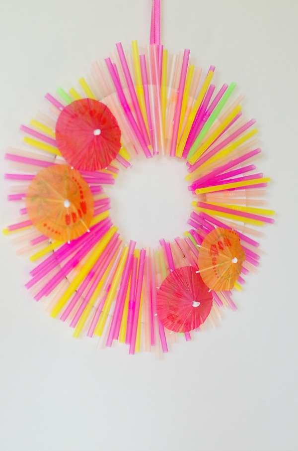colorful summer wreath made of straws