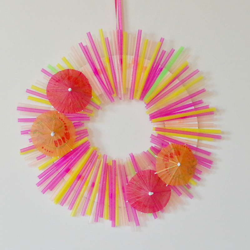 summer wreath with bright colors