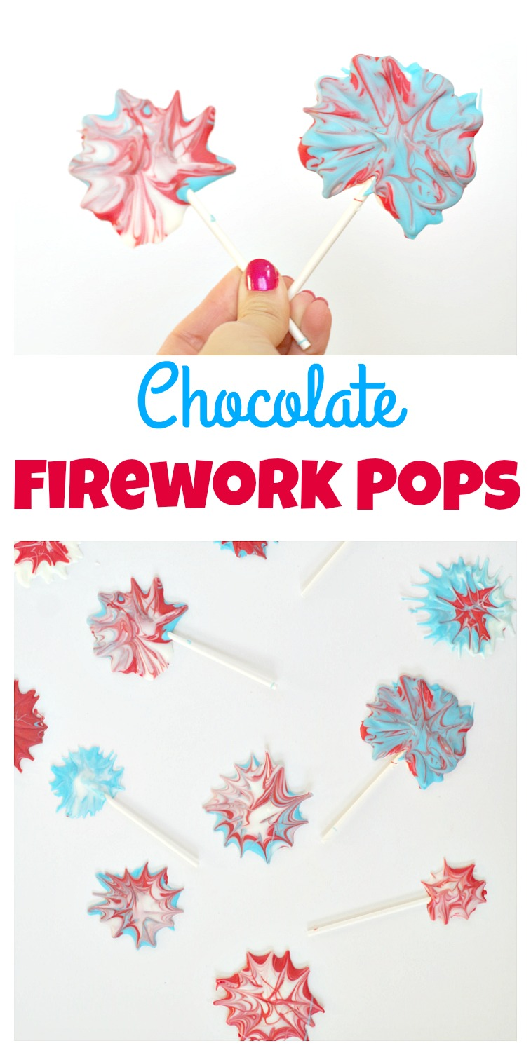 Chocolate Firework Pops! Anyone can make this adorable dessert for 4th of July