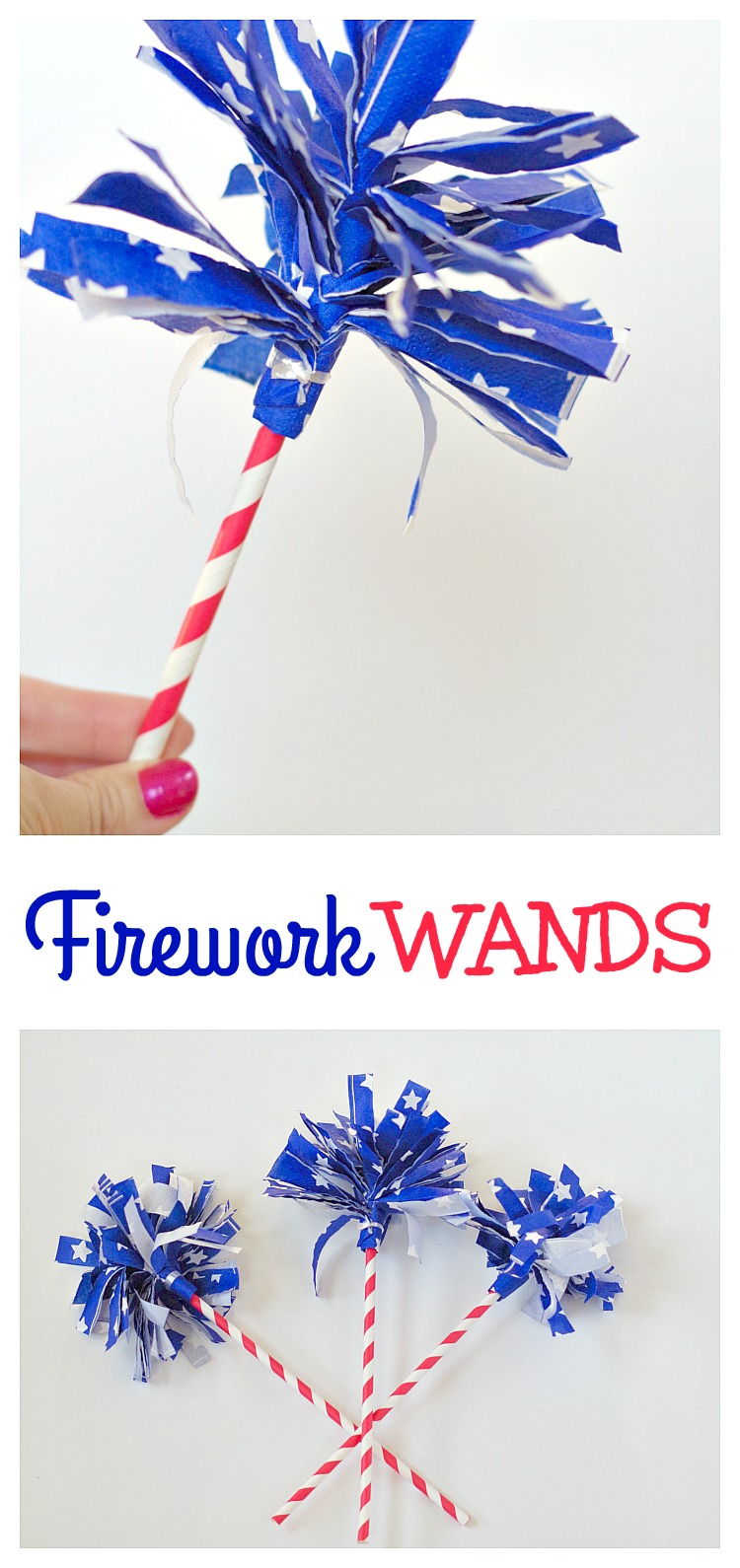 Firework Wands! Make these simple firework wands for 4th of July with just napkins and paper straws.