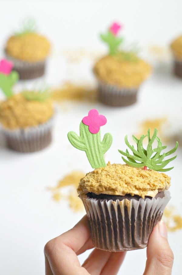 cactus garden topped cupcakes